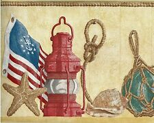 Nautical - Sailboat Model - Floats - Lanterns -  ONLY $6 - Wallpaper Border A074