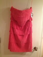 Jessica Simpson Strapless Crinkle Tiered Dress, Coral, Size 8, New With Tags