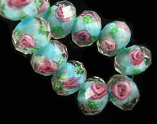 10ps Sky Blue Faceted Glass Rose Flower Lampwork Beads Spacer Charm Jewelry 12mm