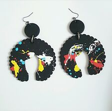 New Afrochic wood earrings handmade afrocentric neo soul hand painted natural