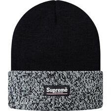 SUPREME Marled Cuffed Beanie Black White Box Logo camp safari garçon F/W 13