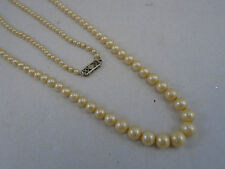 Vintage Graduated Bead Faux Pearl Necklace with 14k White Gold Fishhook Clasp