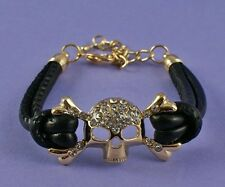 Skull Bracelet with Black Leather Look cuff