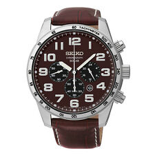 Seiko SSC227 Brown Dial & Leather Chronograph Solar Men's Watch
