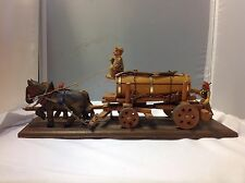 Vintage German Folk Art Wood Carved Beer Wagon Horse Ox