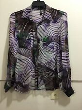 Guess by Marciano women's size large sheer button down with graphic detail