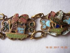 Egyptian brass and enamel early tourist ware panel bracelet with deities