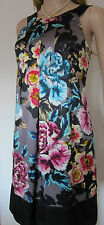 TED BAKER ~Wild Primrose~ SILK Dress UK 16 5 ~Wedding~ Party FLORAL Grey Black