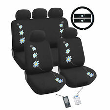 Daisy Blue  Flower Car Seat Cover Set Universal Fit