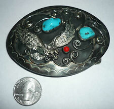 VTG NATIVE AMERICAN OLD PAWN SILVER EAGLE TURQUOISE & CORAL BELT BUCKLE