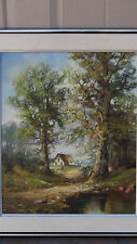 ANTIQUE ORIGINAL OIL PAINTING ON CANVAS COUNTRY SCENE W/HOUSE NEAR WATER &SIGNED