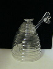 GLASS HONEY POT WITH DIPPER AND GLASS BEES