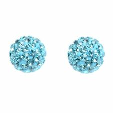 Turquoise Shamballa Inspired Crystal Ball Sterling Silver Stud Earrings 4mm