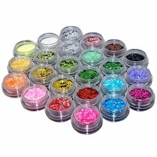24 Colours Glitter Dust Powder Set - Nail Art Tips Decoration / Crafts / DIY