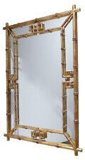 Antique Gold Iron Fretwork Bamboo Wall Mirror Asian Elegant Hollywood Regency