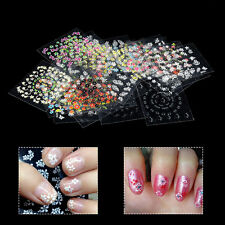 New 30 Sheets 3D Design Nail Art Sticker Tips Decal Flower DIY Manicure Stickers