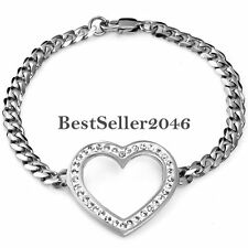 Silver Stainless Steel Curb Link Chain Charm Open Heart Love Promise Bracelet