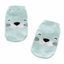 Kids Baby Cotton Cartoon Animal Slip Boots Ankle Socks Blue Dolphin 2-4Y