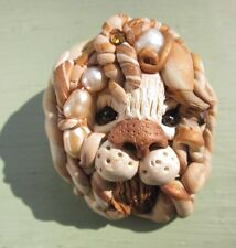 LION HEAD PIN BROOCH HAND CRAFTED Handmade POLYMER CLAY BEADS FRESHWATER PEARLS