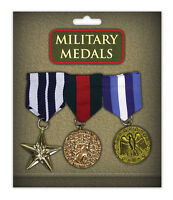 3 X GOLD MILITARY MEDALS ARMY SOLDIER ARMED FORCES FANCY DRESS COSTUME ACCESSORY