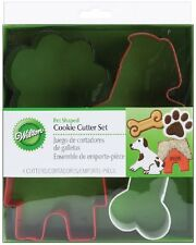 4 Pc Wilton Metal Pets Cookie Cutter Set W/ Rolled Edges For Dog Biscuits Treats
