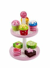 Wooden Toy Cake Stand and Cakes Ideal Pretend Play Gift for Girls