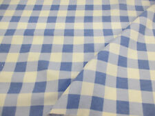 4 Metres White & Light Blue Checked 100% Brushed Cotton Flannel Fabric.