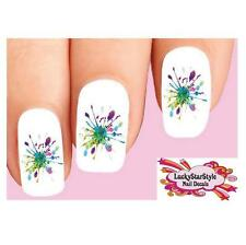 Waterslide Nail Decals Set of 20 - Colorful Paint Splatter Dripping #1