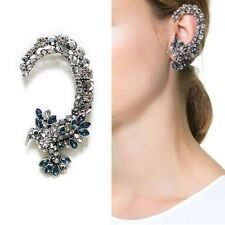 Gorgeous Antique Silver Crystal Humming Bird Blue Crystal Ear Cuff Earring Punk
