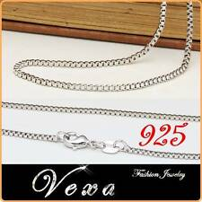New 925 Sterling Silver 1.2mm Necklace Cube Link Chain Snake 18'' Unisex UK NS07