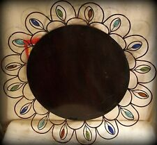 "New 16.75"" Round Burgundy Metal Tray-Multi-Color ""Jewels"" Mounted in Wire Rim"