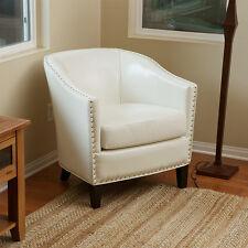 Elegant Tub/Barrel Design Ivory Leather Club Chair w/ Nailhead Accents