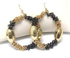 F2 Hoop Metal Bead Wire Ring EARRING Gold Plating NEW