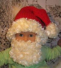 PRINTED KNITTING INSTRUCTIONS BABY BEARDED SANTA HAT CHRISTMAS KNITTING PATTERN