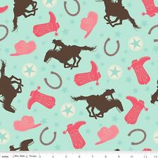 Rodeo Girl Main Mint Flannel By The  yard Samantha Walker Rodeo Rider