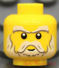 NEW Lego White Gray Beard Moustache MINIFIG HEAD -Castle Kingdoms Knight/Pirates