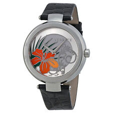 Versace Mystique Silver Hibiscus Dial Black Leather Ladies Watch 19Q99D1HI-S009