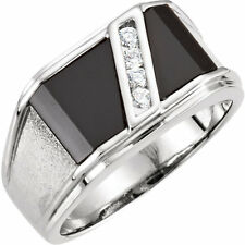 Sterling Silver Custom-cut Black Onyx & Genuine White Sapphire Man's Ring