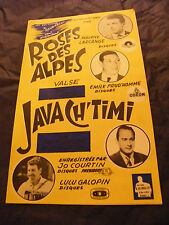 Partition Roses des Alpes Bob Astor Java Ch'timi Tony Murena Courtin 1959