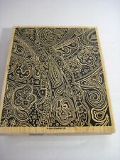 "Stampin Up Paisley Print Background Rubber Stamp Large 5"" x 6"""