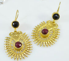 OttomanGems semi precious gemstone earrings gold plated Jade handmade