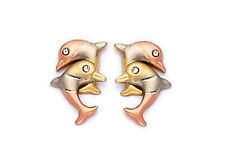14k Gold Tri Color Dolphin Stud Screw Back Earrings for Children Adults ON SALE