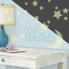 44 New GLOW IN THE DARK STARS AND MOONS WALL DECALS Sweet Dreams Stickers Decor