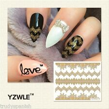 3D Nail Art Stickers Decals Wraps Metallic Gold Lace Flowers Gel Polish (6010)