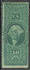 us revenue stamp r95c - $10.00 Mortgage issue - nice handstamped 1865 cancel