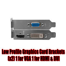 NEW Low Profile Graphics Card Brackets x 2 1 for VGA 1 for HDMI & DVI