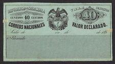Colombia 1890 Cubierta Certificacion con contenido 40c unused