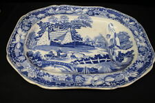 "Rare 1820's English ""Chinese Fisher Boys"" Blue Transferware Footed Platter"