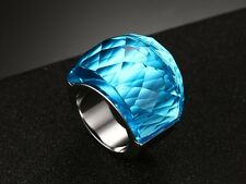 Large Crystal Stone Ring For Women Stainless Steel Wedding Party Band Jewelry