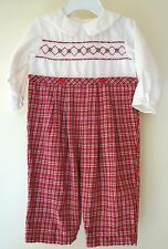 Petit Ami Holiday Smocked Longall ~  Boy's Size 6 Month
